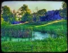 Almost twilight.... (Sherrianne100) Tags: peaceful pond farmpond farm rural barn oldbarn ozarks missouri