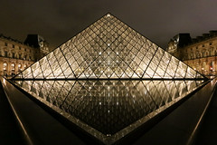 Louvre Pyramid (rebecca_e_johnson) Tags: louvre pyramid paris louvrepyramid france city architecture reflection water night evening europe glass mirror light museum capital fountain travel urban history art pyramidedulouvre courtyard louvrepalace palace louvremuseum landscape landmark dark symmetry symmetrical geometric
