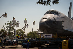 Space Shuttle Endeavour Move (201210130026HQ) (NASA HQ PHOTO) Tags: california ca usa losangeles cherrypicker nasa timewarner spaceshuttle inglewood endeavour manlift boomlift ov105 basketcrane billingalls
