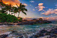 Maui (mojo2u) Tags: morning sunrise hawaii cove secretbeach maui makena weddingbeach nikon2470mm nikond700