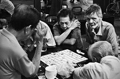 Endgame (Chewy~!) Tags: street old blackandwhite men night intense singapore chinese chess 牛车水 象棋 chintown