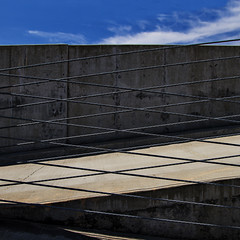 kriskroskraziness (MyArtistSoul) Tags: blue sky urban wall clouds last square concrete ramp day shadows x minimal cables lax exit parkingstructure p2 zeni sadday 2154 24105mmf4
