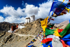 Castle of tsemo (: : T O N I : :) Tags: old blue red sky india white building architecture landscape religious ancient view stones buddha stupa buddhist religion belief style buddhism center calm monastery tibetan serene leh slope thikse ladakh gompa thiksey yellowhat tikse maitreya gelugpa tiksey