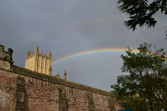 rainbow over wells cathedral (Carpe Feline) Tags: england cheese rainbow kittens wells wellscathedral villages cheddar lacock churchclock lacockabbey bishopspalace cheddargorge goughscave kingjohnshuntinglodge carpefeline nationaltrustvillage cavematuredcheese moralcarvingsincathedral harrypottersparentshouse