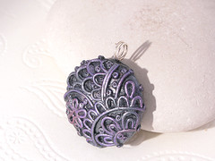 Silver, lilac filigree necklace, polymer clay (Tatiana Korba) Tags: grey necklace jewelry polymerclay lilac filigree pendanr