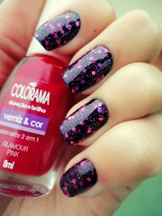 Tentativa de um fake cheesecake (Jeh Goudel) Tags: pink glitter cheesecake discoball unha esmalte colorama carbono
