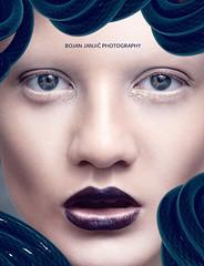 Posthumanism (Bojan Janjic) Tags: light bw color art apple beauty fashion magazine studio photography eyes keyboard makeup cable lips editorial concept conceptual retouch hitech poses posthumanism strobist