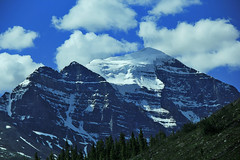 Majestic Mountain (LostMyHeadache: Absolutely Free *) Tags: trees summer sky mountain snow nature grass stone clouds forest canon rocks earth foliage rockymountains peaks ridges canadianrockies davidsmith digitalcameraclub lakelouisealbertacanada eos60d