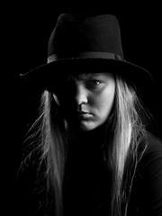 Mystic Hat portrait (Zystem) Tags: portrait blackandwhite hat canon studio nose eyes angry pro 1770mm blackwhitephotos edwardkarlsen zystem
