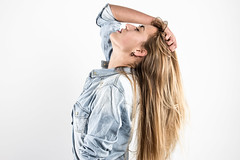 T's Jeans Blouse II. (Adam Haranghy) Tags: girls light portrait woman white girl leather fashion youth studio lights young style porträt blouse jeans teen jacket teenager leder jacke bluse hemd