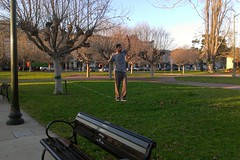 Tight-rope walker in park next to Lake Merritt, Oakland, CA (delight.1027) Tags: oakland january lakemerritt 2013