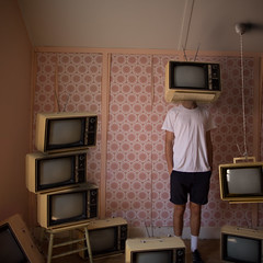 RetroTelevision (Harry McArthur) Tags: old pink light shadow wallpaper portrait people selfportrait abstract