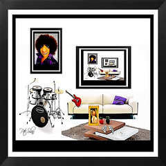 A Toons Rock Star`s Living Room (Peter Solano. Pursuing a dream!) Tags: pictures red white man black girl yellow wall beige funny purple drumset guitar livingroom sofa surrealist toon salvadordali coffeetable avidadollars thepersistenceofmemory musicsheets