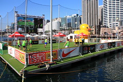 Sydney's Darling Harbour's floating 5-a-side  soccer pitch & duck [explored] (CarlosSilvestre62) Tags: sydney australia explore darlingharbour rubberduck thebigissue yellowduck explored darlingharboursydney carlossilvestre62 carlossilvestre62explored 2013sydneyfestival