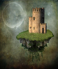 Castle in the Sky (Cat Girl 007) Tags: travel ireland galway fairytale manipulation textures fantasy cliffsofmoher whimsical countyclare loverly obrienstower ghostworks moonseclipse magicunicornverybest artmixhighlights creativephotocafe skeletalmessstormcloudsquietthoughts rubyblossomfloatingisland brendastarrpremadebg101 artmixgallery43
