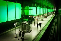 green (>TIM<) Tags: street light people green station underground subway metro hamburg tracks cubes hafencity