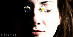 Her in flower (Travt) Tags: light shadow woman nature beautiful face canon poetic her lower lover chiaroscuro scuro chiaro 600d