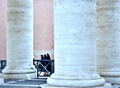 Rome, Italy-Piazza di San Pietro and Via di Conciliazione leading to Basilica - morning prayers (christinathomas@att.net) Tags: italy vatican rome history st museum site ancient ruins san arch roman forum columns pantheon historic constantine di coliseum peters castel archeological titus coloseum basiclica