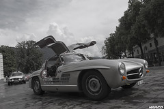 Gullwings open (Iceman_Mark) Tags: mercedes 300 sl classic gullwing design friedrich geiger 1950s 1957 3litre straight6 passione caracciola june summer piazzariforma lugano ticino switzerland bw blackandwhite