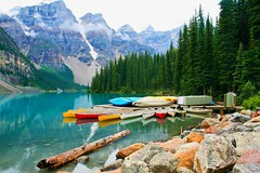 Lake Morraine (LL - jussway) Tags: canada outside lake torquoise beautiful nature canoe mountains bc