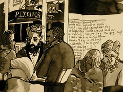 Conversations at Greens & Co (Evelyn Bach) Tags: sketch sketchbook cafe conversations drawing diary drawingyourlife illustration interior ink brushpen journal life perth people urbansketch urban usk
