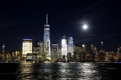 Mid-Autumn Festival 2016 (Joseph W Ling) Tags: midautumn festival moon fullmoon night manhattan nyc water freedomtower oneworldtradecenter downtown  scenery landmark skyline city ny newyork landscape reflection reflect