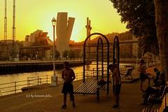 """Atardecer en el """"Paseo Campo de Volantn""""Bilbao. (lameato feliz) Tags: bilbao bibo contraluz campovolantn riadebilbao puentedelasalve museoguggenheimbilbao atardecer"""