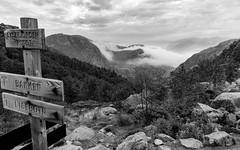 Wanderweg zum Preikestolen.jpg (Hans-Christoph.Rose) Tags: wanderweg nebel preikestolen d5500 steine sw fjord dnt wandern wegweiser berge baum norwegen schwarzweis nikon wolken stein rogaland no afsdxnikkor18140f3556gedvr