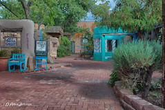 Old Town Albuquerque Alleyway (d allen johnson photograpy) Tags: new mexico albuquerque bernalillo county old town alley southwest south west architecture brick path trees stores restaurant store restaurants shrubs desert pastel pastels adobe scenic tree buildings shops storefront front fronts garden pavers paver retail shop shopping tourist tour chair sign signs paths alleyway quaint historic historical outdoor yard oldtown