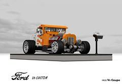 Ford 1932 V8 Coupe Rod (lego911) Tags: ford 1932 1930s hot rod hotrod tudor v8 custom auto car moc model miniland lego lego911 ldd render cad povray usa america classic vintage lugnuts challenge 107 saturdaymorningshownshine saturday morning show n shine
