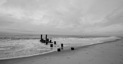 Morning Clouds Over Cape May (Catskills Photography) Tags: sky clouds blackandwhite shore coast beach jetty groin sea ocean seascape landscape capemay canon1022mmlens