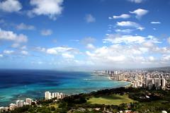 Honolulu (ClaireAn_87) Tags: hawaii diamondhead volcan crater views panoramic awesome city pacificocean oahu honolulu island paradise sky clouds blue green landscape canon canon550d travel world volcano isla nubes ocano viajes summer verano usa estadosunidos