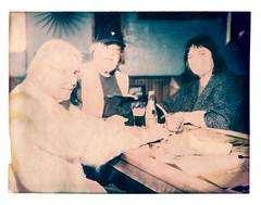 Eva, Bob, and Beverly at The Hotsy Totsy Club (2812 photography) Tags: polaroidlandcamera california portrait haveadrink peterrosos utata:project=godrinking fujifimfp100c utata:entry=5 eastbay instantfilm localbar negativereclamation analog film