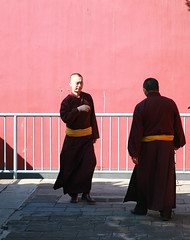 Monks (digifancanon) Tags: china street pink people art wall architecture temple october colours dress buddha beijing monk explore lama fareast 2012 canoneos5d buddhistic ef24105mm40l