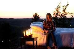 Bedtime ! (pfala) Tags: sunset summer portrait people woman sun girl beautiful beauty lights evening bed candles femme belle summergirl pfala paulfalardeau