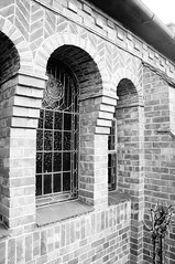 Decorative brickwork around windows (Jon-UK) Tags: windows bw white black brick church details adoremus adorer adorar  adhradh addoliad