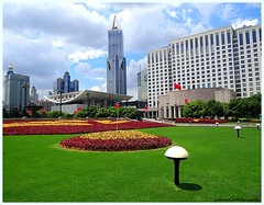 The Shanghai operahouse (6 pictures) (jackfre2) Tags: china flowers skyline opera shanghai operahouse lawns peoplessquare flowerbeds mygearandme mygearandmepremium