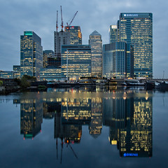 Canada Square (Daniel Borg) Tags: uk blue england reflection london architecture lights unitedkingdom wideangle docklands canarywharf hsbc squarecrop barclays citi skyscrapper canadasquare canon1022 canon550d