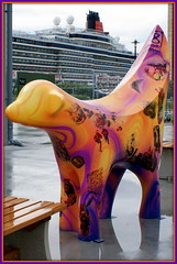 Famous (* RICHARD M (Over 5 million views)) Tags: england tourism liverpool reflections ships famous cities newquay maritime publicart nautical shipping ports crusing cunard cruisers pierhead artworks cruiseships merseyside superlambanana cruiseterminal liners capitalofculture cruiseliners liverpool08 shippinglines rmsqueenelizabeth oceangoing passengerships passengerliners
