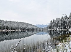 Lake Loop Jasper 2 (ThePieCo) Tags: park autumn trees winter panorama lake snow canada cold fall water night cabin nikon jasper stitch image loop saturday national alberta 24mm provincial d90