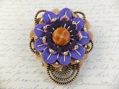 Purple Passion (MsLolaCreates) Tags: blue flower thread leather silver beads pin purple embroidery brooch tan craft sew felt button zipper mslolacreates