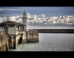 At the end of the jetty (JennTurner) Tags: sea lighthouse color water clouds marina canon pier town kent seaside cafe harbour jetty tide coastal pro hdr dover photomatix tonemapped efex 60d 1585mm