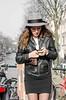 phone-4 (105mm) Tags: street girls people sun girl amsterdam phone candid telephone skirt earphone mensen streetfaishion