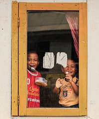 Peeking (syukaery) Tags: people kids children indonesia 50mm nikon westjava sukabumi humaninterest citalahab d700 bedeng