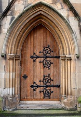 HINGED (simongavin83) Tags: door wood church stone architecture religious sandstone arch glasgow religion gothic chapel archway hinged hinges parishchurch woodendoor renfieldststephens nikond5100 renfieldststephensparishchurch kenmuresandstone