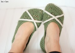 crochet slippers (leaandlars) Tags: green crochet cream slippers
