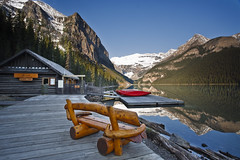 Early morning view - Lake Louise (Jackpicks) Tags: morning lake canada reflection canoe alberta lakelouise banffnationalpark canadianrockies blueribbonwinner gpsetest
