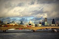 view from the bridge (Thin Glass (Tweet @humanpilot)) Tags: city bridge color vintage landscape view cathedral postcard stpauls riverthames londonskyline