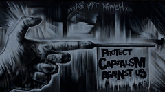 Protect Capitalism Against Us (LievenVM) Tags: street bw streetart black art dark grey graffiti europa europe pentax euro finance graffitiart ezb k7 lieven europeancentralbank europischezentralbank capatalism pentaxk7 lievenvm