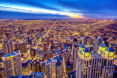 Cold Day, Hot Lights (clarsonx) Tags: city longexposure sunset chicago west skyline night clouds lights illinois downtown cityscape observatory bluehour hancock hdr johnhancockbuilding sigma1020mm chicagoist 3xp tonemapped 32bitmerge